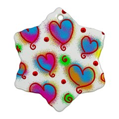 Love Hearts Shapes Doodle Art Snowflake Ornament (two Sides)