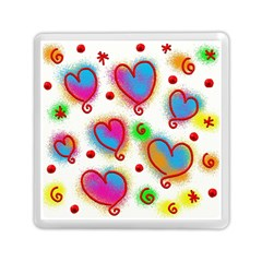 Love Hearts Shapes Doodle Art Memory Card Reader (Square)