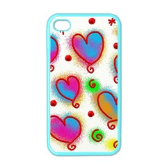 Love Hearts Shapes Doodle Art Apple Iphone 4 Case (color)