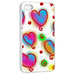 Love Hearts Shapes Doodle Art Apple iPhone 4/4s Seamless Case (White)