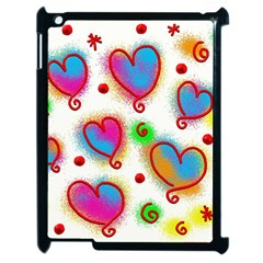 Love Hearts Shapes Doodle Art Apple iPad 2 Case (Black)