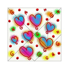 Love Hearts Shapes Doodle Art Acrylic Tangram Puzzle (6  X 6 )