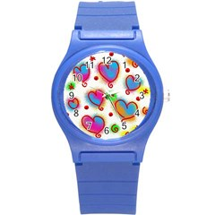 Love Hearts Shapes Doodle Art Round Plastic Sport Watch (s)