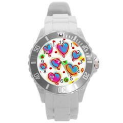 Love Hearts Shapes Doodle Art Round Plastic Sport Watch (l)