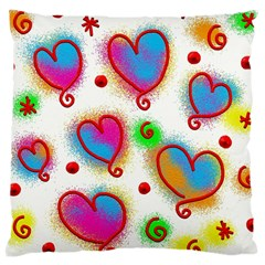 Love Hearts Shapes Doodle Art Large Cushion Case (Two Sides)