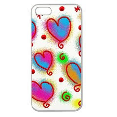 Love Hearts Shapes Doodle Art Apple Seamless iPhone 5 Case (Clear)