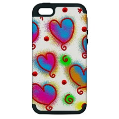 Love Hearts Shapes Doodle Art Apple iPhone 5 Hardshell Case (PC+Silicone)