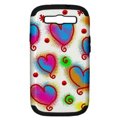 Love Hearts Shapes Doodle Art Samsung Galaxy S Iii Hardshell Case (pc+silicone)