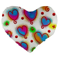 Love Hearts Shapes Doodle Art Large 19  Premium Heart Shape Cushions