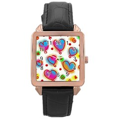 Love Hearts Shapes Doodle Art Rose Gold Leather Watch