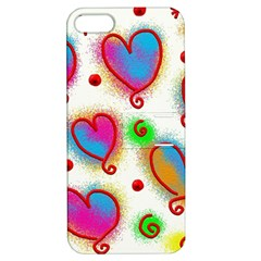 Love Hearts Shapes Doodle Art Apple Iphone 5 Hardshell Case With Stand