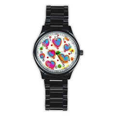 Love Hearts Shapes Doodle Art Stainless Steel Round Watch