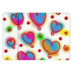 Love Hearts Shapes Doodle Art Samsung Galaxy Tab 8.9  P7300 Flip Case