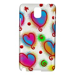 Love Hearts Shapes Doodle Art Samsung Galaxy Note 3 N9005 Hardshell Case
