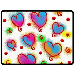 Love Hearts Shapes Doodle Art Double Sided Fleece Blanket (large)