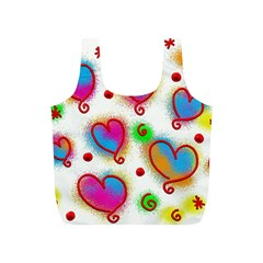 Love Hearts Shapes Doodle Art Full Print Recycle Bags (S)