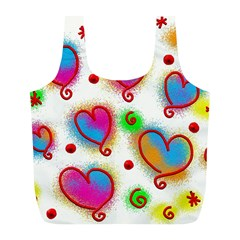 Love Hearts Shapes Doodle Art Full Print Recycle Bags (l)