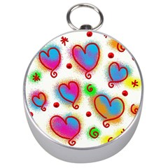 Love Hearts Shapes Doodle Art Silver Compasses