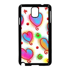 Love Hearts Shapes Doodle Art Samsung Galaxy Note 3 Neo Hardshell Case (Black)