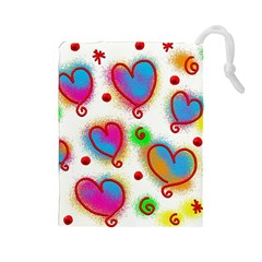 Love Hearts Shapes Doodle Art Drawstring Pouches (large)
