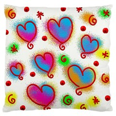 Love Hearts Shapes Doodle Art Large Flano Cushion Case (Two Sides)