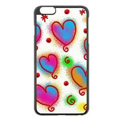 Love Hearts Shapes Doodle Art Apple Iphone 6 Plus/6s Plus Black Enamel Case