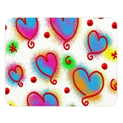 Love Hearts Shapes Doodle Art Double Sided Flano Blanket (Large)