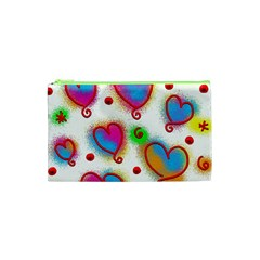 Love Hearts Shapes Doodle Art Cosmetic Bag (xs)