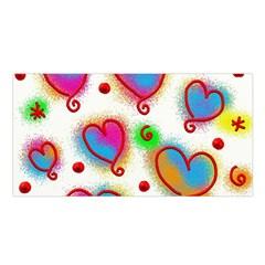 Love Hearts Shapes Doodle Art Satin Shawl