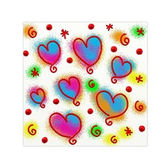 Love Hearts Shapes Doodle Art Small Satin Scarf (Square)