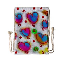 Love Hearts Shapes Doodle Art Drawstring Bag (Small)