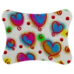 Love Hearts Shapes Doodle Art Jigsaw Puzzle Photo Stand (Bow)