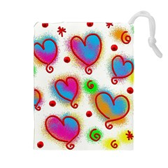 Love Hearts Shapes Doodle Art Drawstring Pouches (Extra Large)