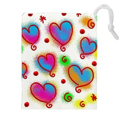 Love Hearts Shapes Doodle Art Drawstring Pouches (XXL)