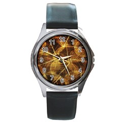 Leaves Autumn Texture Brown Round Metal Watch