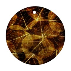Leaves Autumn Texture Brown Ornament (Round)