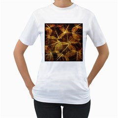 Leaves Autumn Texture Brown Women s T-Shirt (White) (Two Sided)