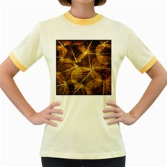 Leaves Autumn Texture Brown Women s Fitted Ringer T-Shirts