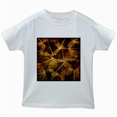 Leaves Autumn Texture Brown Kids White T Shirts