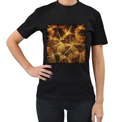 Leaves Autumn Texture Brown Women s T-Shirt (Black) (Two Sided)