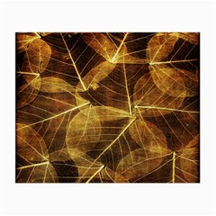 Leaves Autumn Texture Brown Small Glasses Cloth
