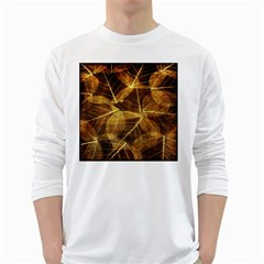 Leaves Autumn Texture Brown White Long Sleeve T-Shirts