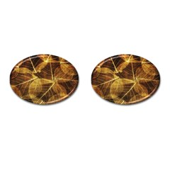 Leaves Autumn Texture Brown Cufflinks (Oval)