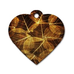 Leaves Autumn Texture Brown Dog Tag Heart (one Side)