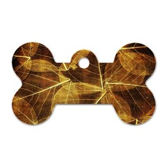 Leaves Autumn Texture Brown Dog Tag Bone (two Sides)