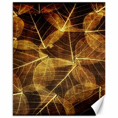 Leaves Autumn Texture Brown Canvas 11  x 14