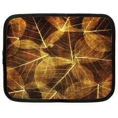Leaves Autumn Texture Brown Netbook Case (large)
