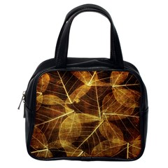 Leaves Autumn Texture Brown Classic Handbags (One Side)