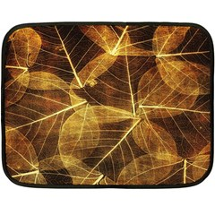 Leaves Autumn Texture Brown Double Sided Fleece Blanket (mini)