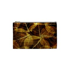 Leaves Autumn Texture Brown Cosmetic Bag (small)